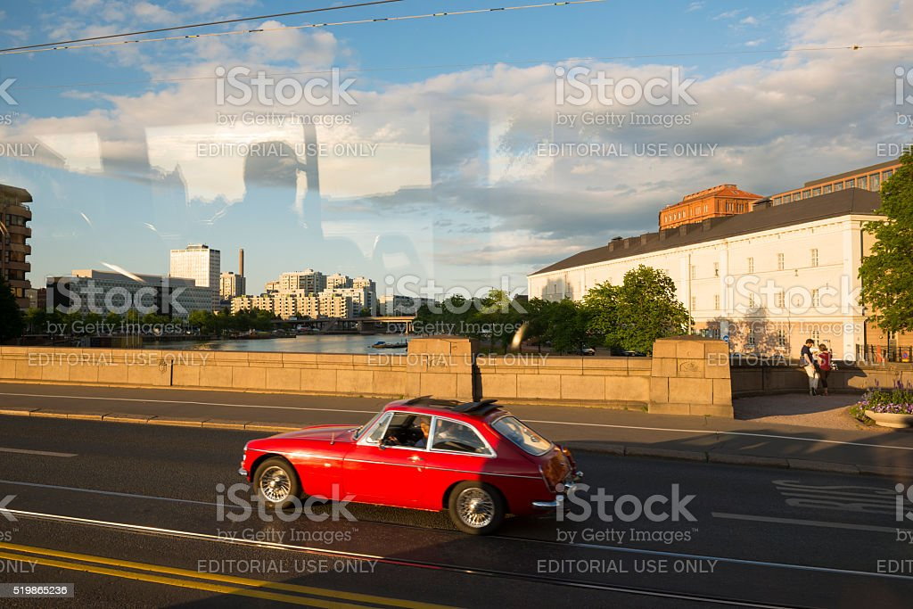 Summer street scene in Helsinki, Finland stock photo