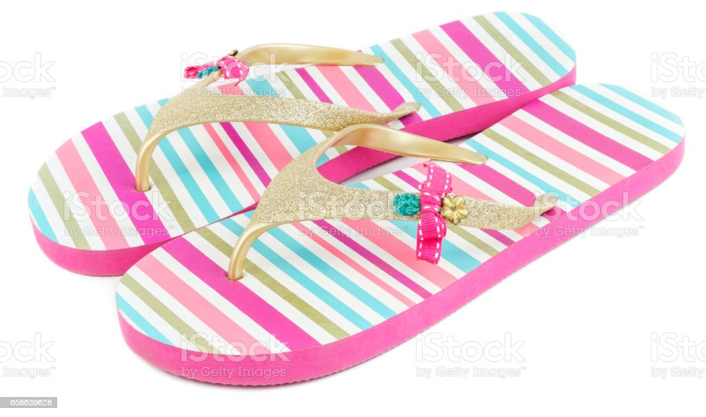 Summer striped slippers isolated stock photo