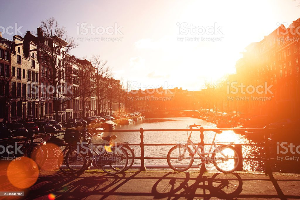 Summer sun in Amsterdam Keizersgracht canal, Netherlands stock photo