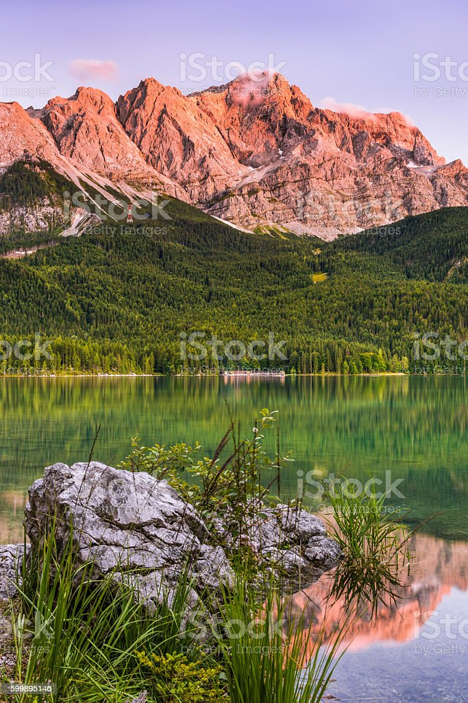 Summer Sunet in the Alps stock photo