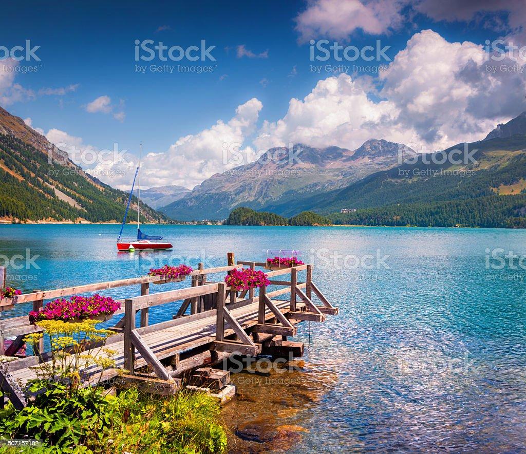 Summer sunny scene on the Silsersee lake stock photo