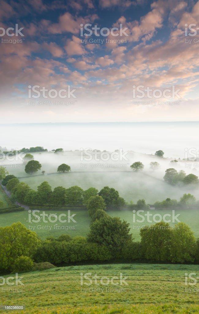 Summer Sunrise from Glastonbury Tor stock photo