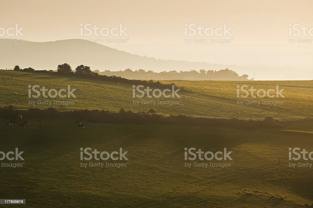 Summer sunrise over English countryside rural landscape royalty-free stock photo