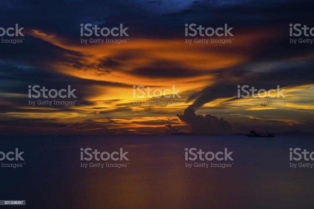 Summer sunset at PATAYA THAILAND stock photo