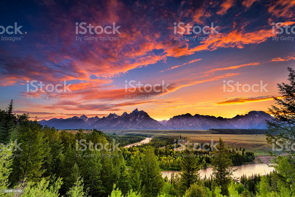 Summer Sunset at Snake River Overlook stock photo