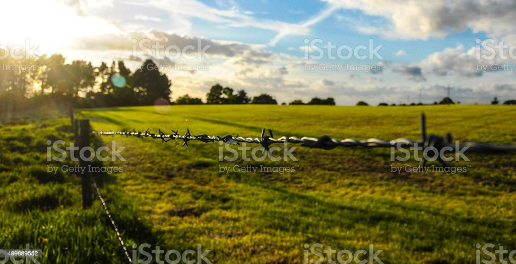 Summer sunset at the fields of England stock photo