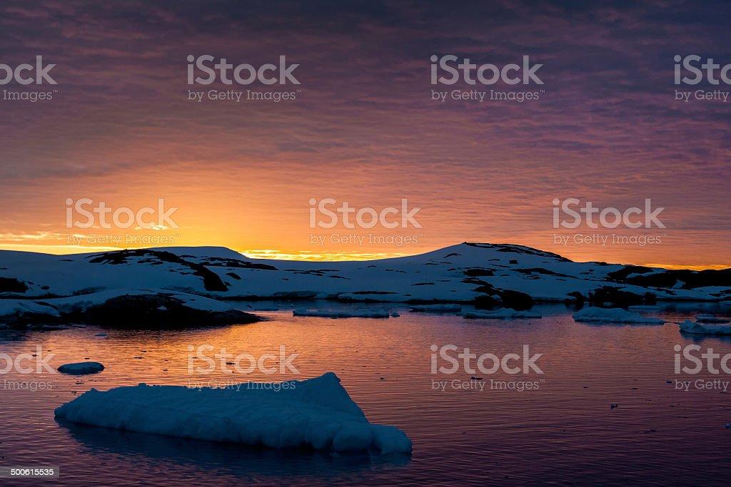 Summer  sunset in Antarctica stock photo