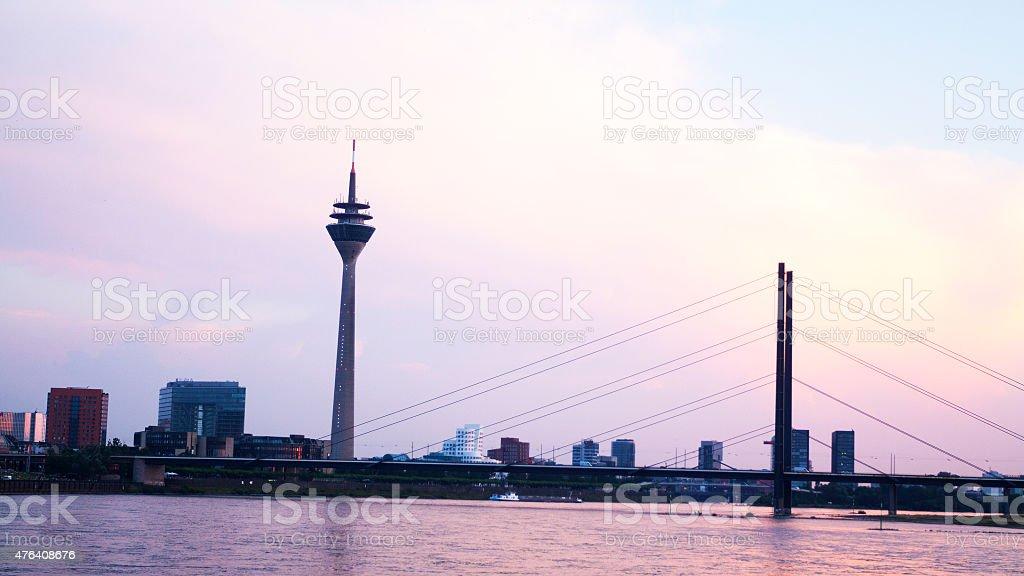 Summer sunset in Düsseldorf stock photo