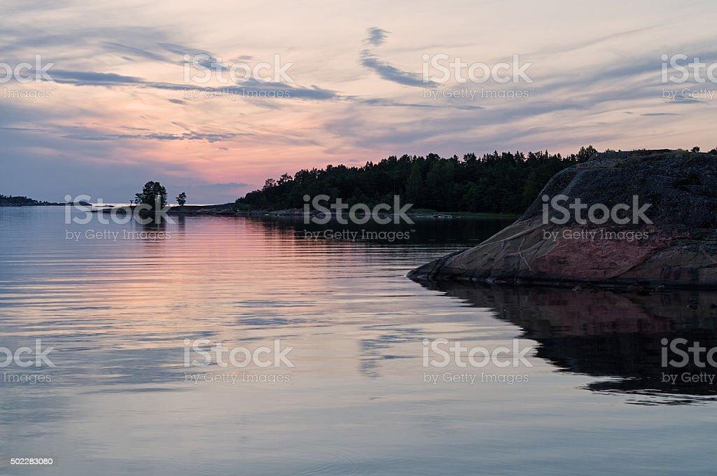 Summer sunset in Scandinavia. stock photo