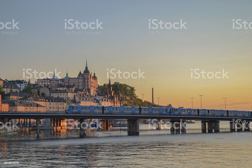 Summer sunset in Stockholm, Sweden. stock photo