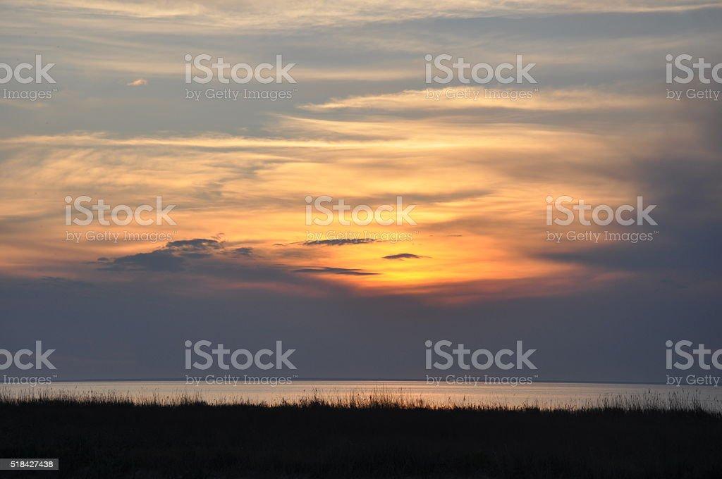 Verano la puesta de sol en el mar foto de stock libre de derechos