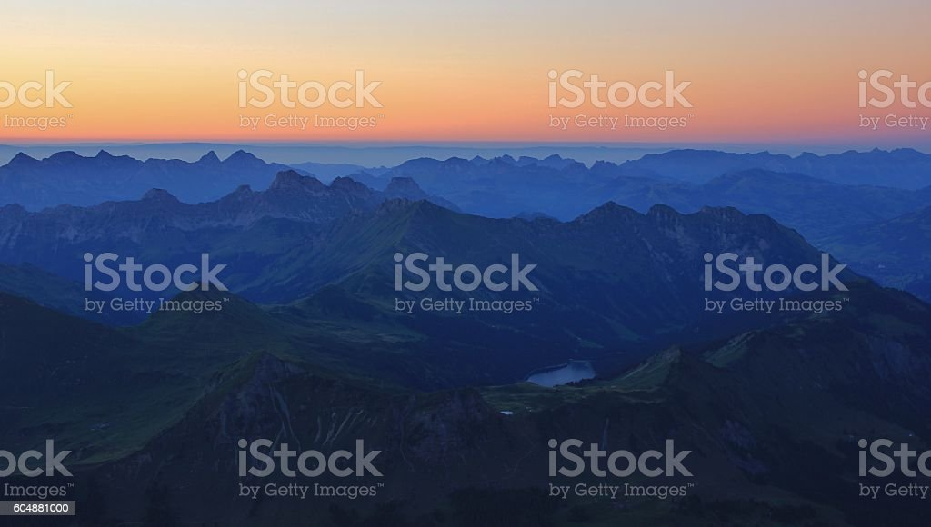 Summer sunset in the Swiss Alps stock photo