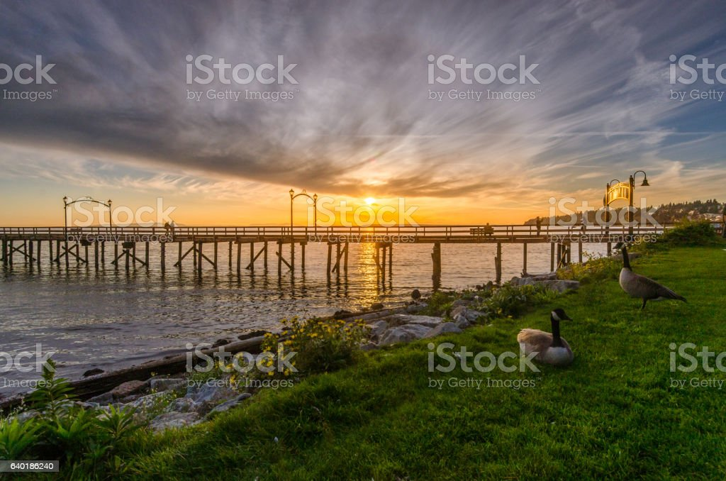 Summer sunset landscape in Vancouver, Canada. stock photo