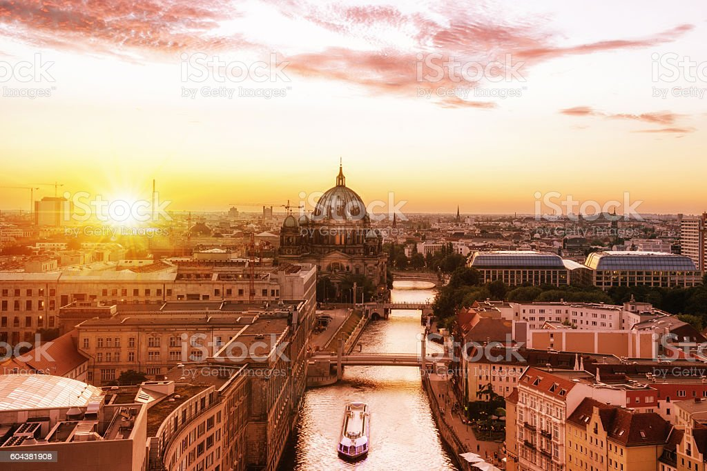summer sunset over berlin with view on cathedral and river stock photo