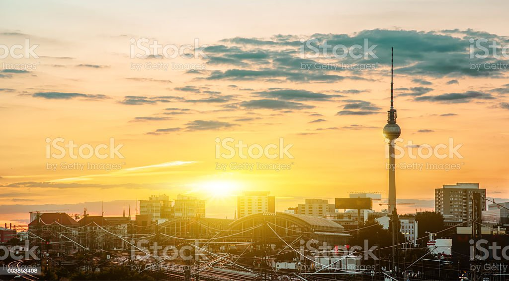 summer sunset over berlin with view on tv-tower stock photo