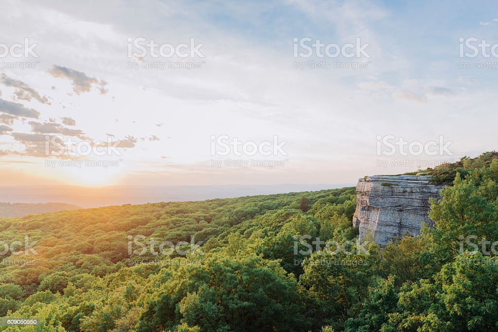 Summer Sunset Over Scenic Valley Lanscape View Catskill Mountains NY stock photo