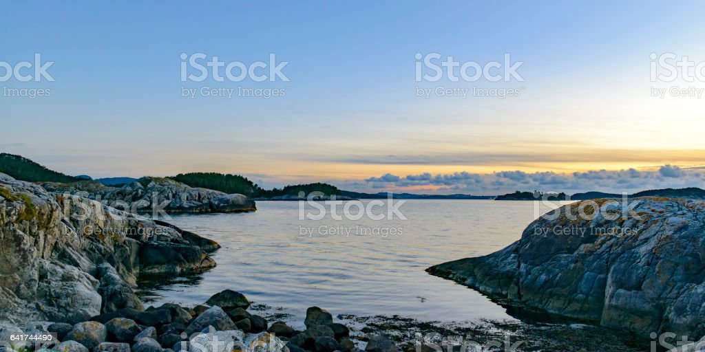 Summer sunset over the Fjords in Norway stock photo