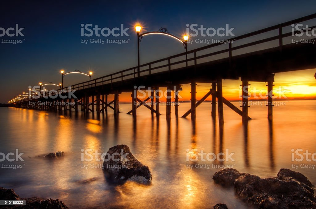 Summer sunset pier landscape at Vancouver, Canada stock photo