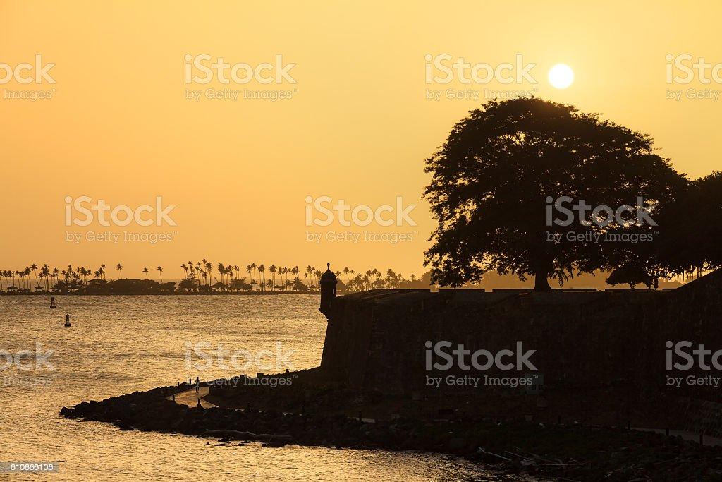Summer sunset San Juan stock photo