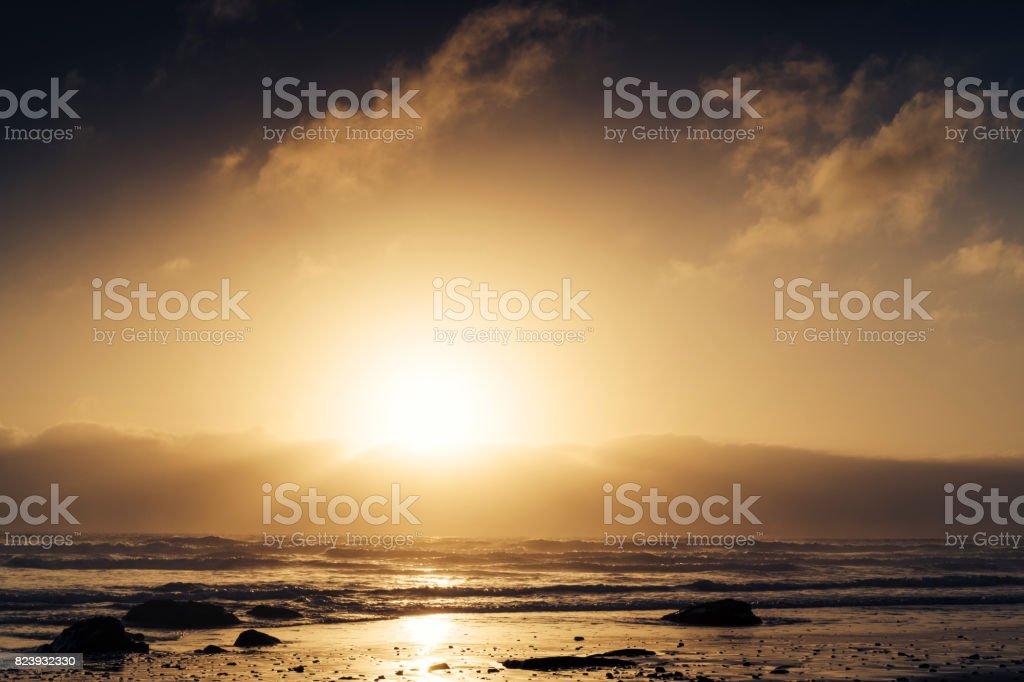 Summer Sunset, Watergate Bay Beach, Newquay, Cornwall stock photo
