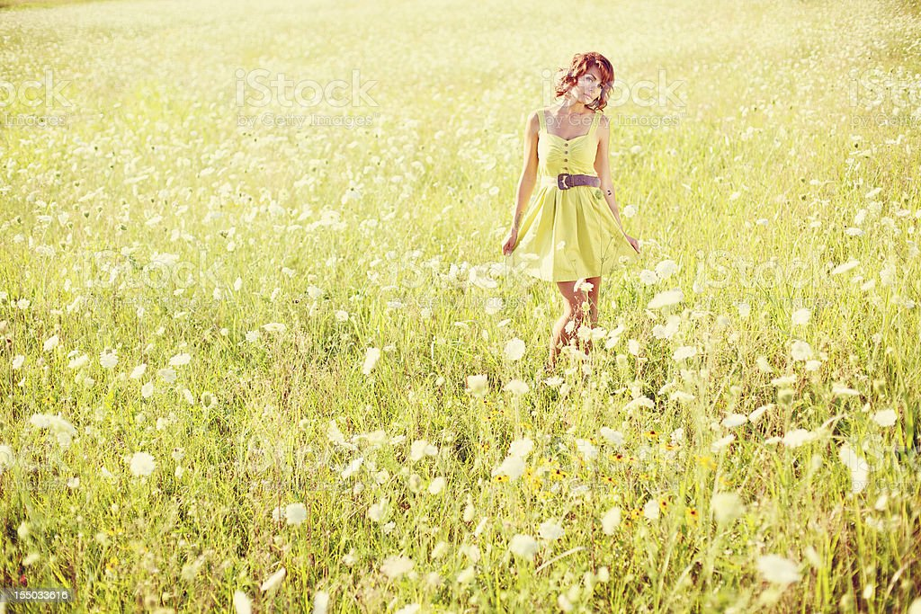 summer sunset young beautiful female outdoors royalty-free stock photo