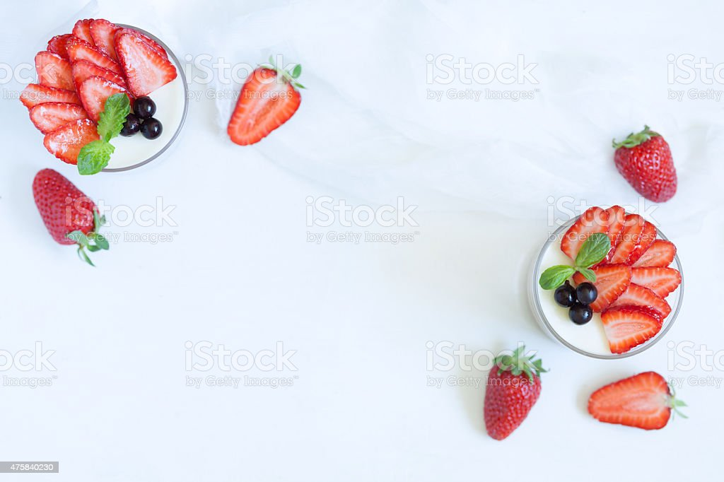 Summer sweet dessert food panna cotta in glass with empty stock photo