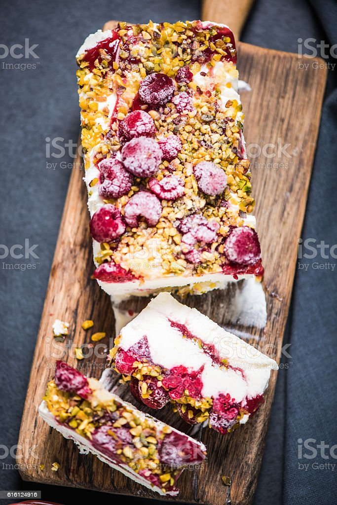 Summer sweet treat, semifreddo with forest fruits stock photo