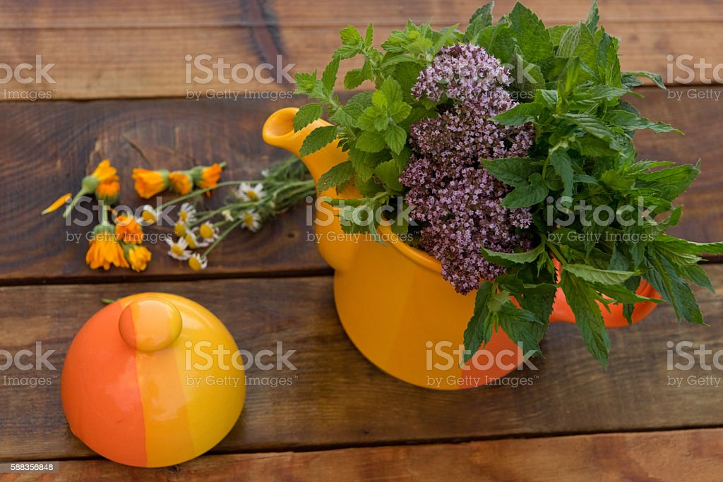summer tea party outdoors on a clear day stock photo