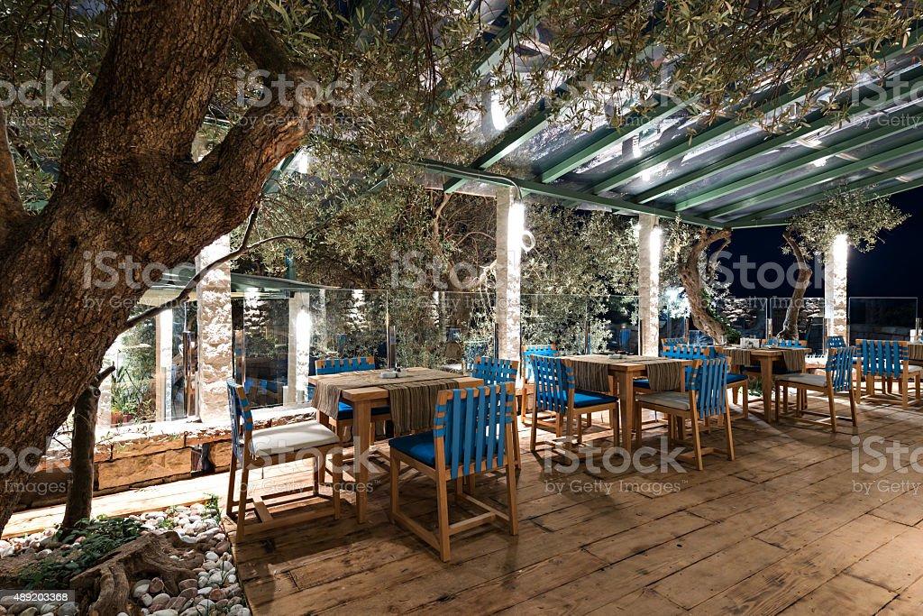 Summer terrace of restaurant stock photo