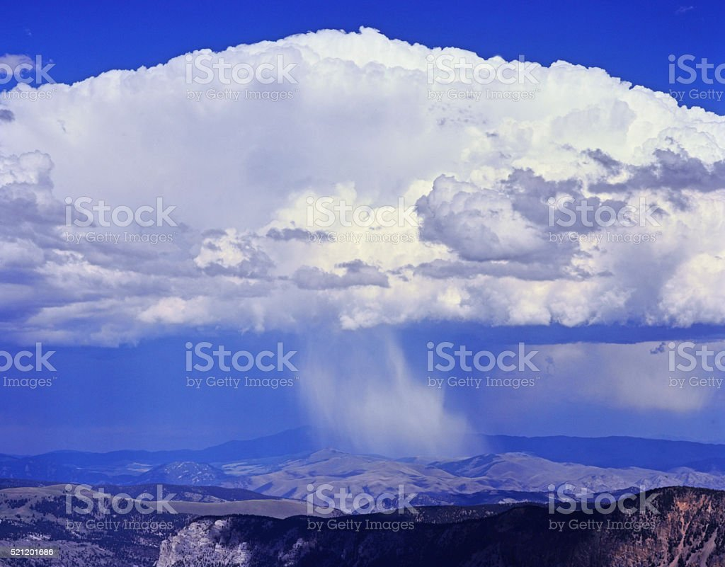 Summer Thunderstorm Over The Highland Mountains, Montana stock photo