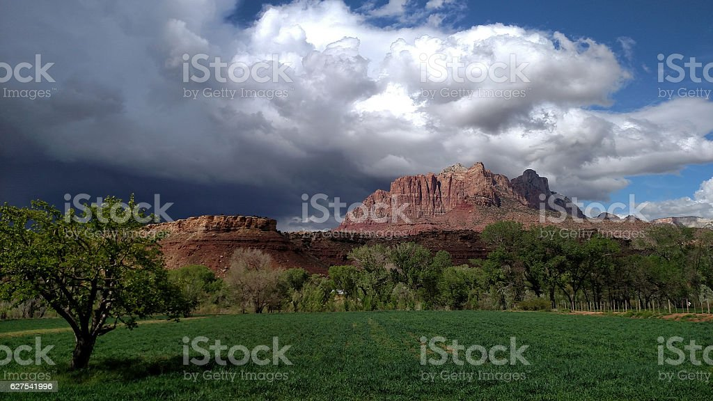 Approaching summer thunderstorm over red rock cliffs of Mount...