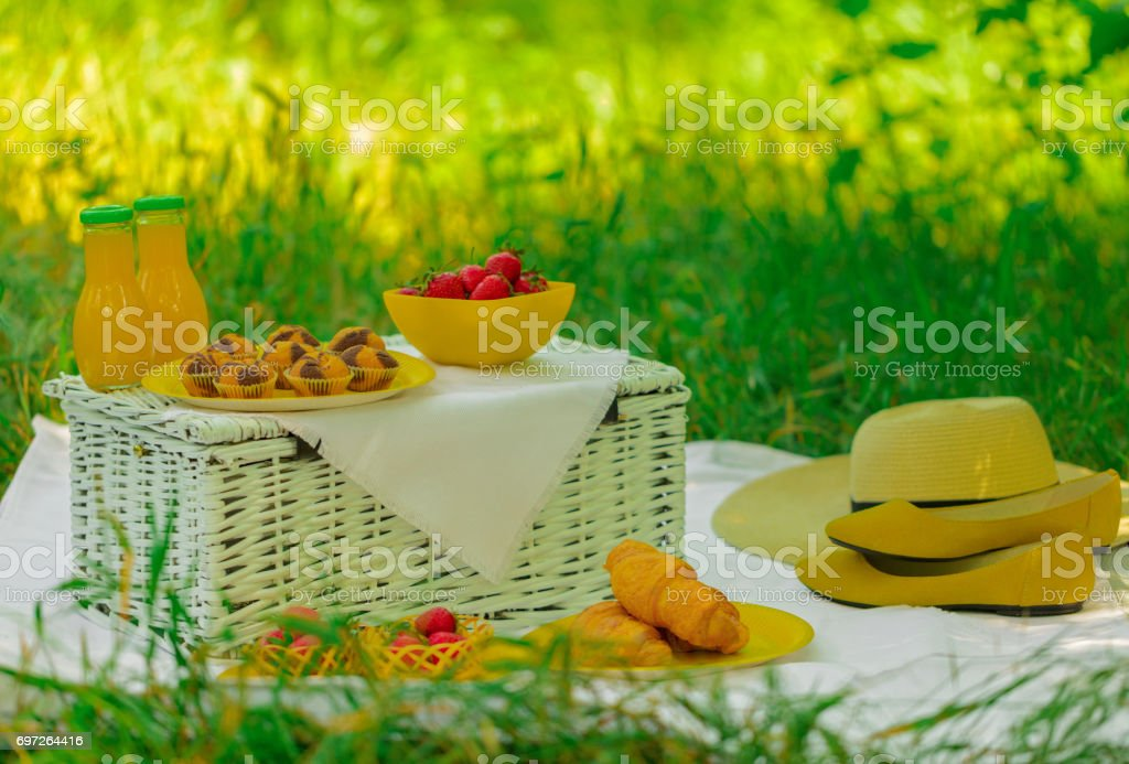 Summer time: picnic on the grass - cakes and croissants, juice and berries. stock photo