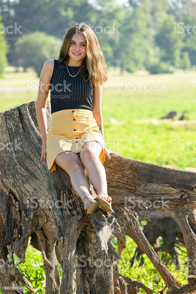 Summer time with beautiful young woman stock photo
