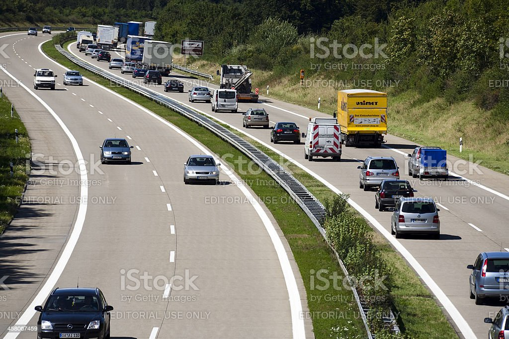 Summer Traffic on Highway, A7 Autobahn, Germany royalty-free stock photo