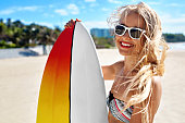 Summer Travel Beach Vacation. Happy Woman With Surfboard. Summer