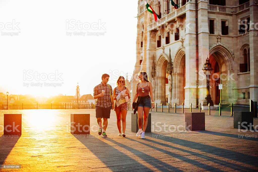 Summer trip in European cities stock photo