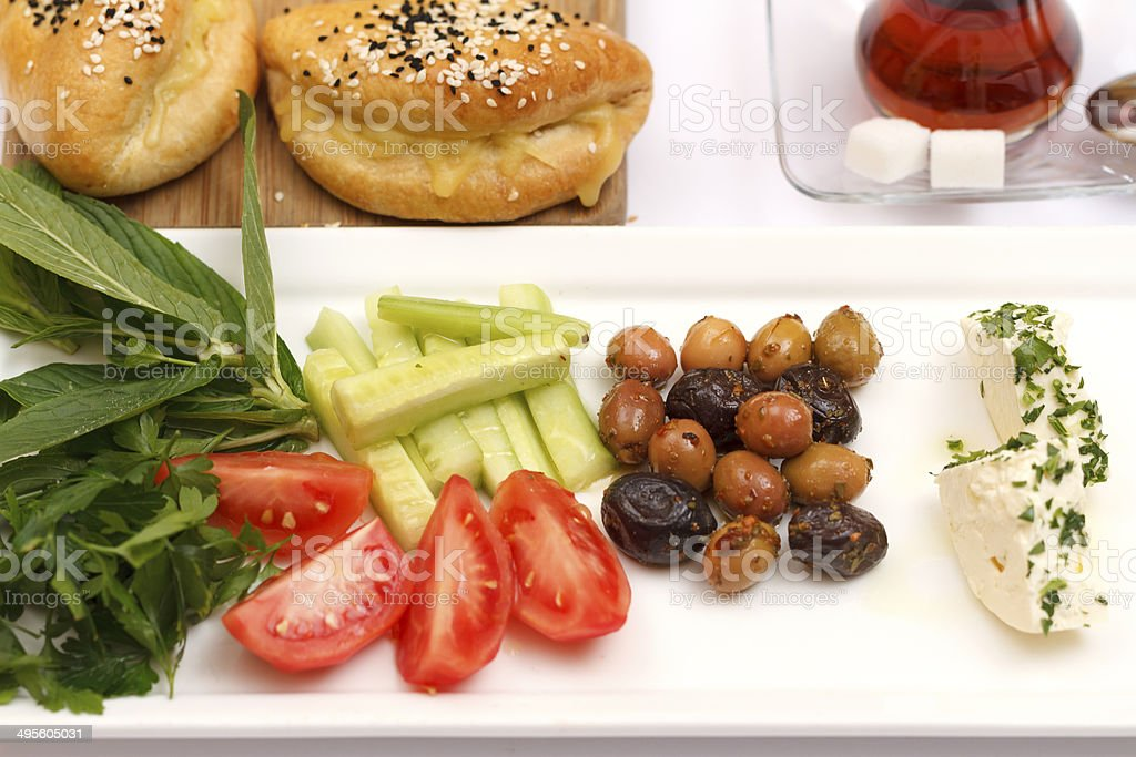 Summer Turkish healthy  light breakfast stock photo