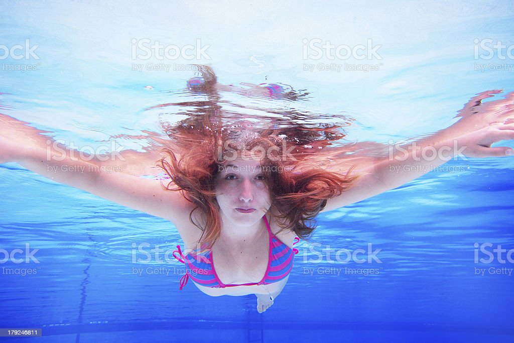 Summer underwater woman royalty-free stock photo