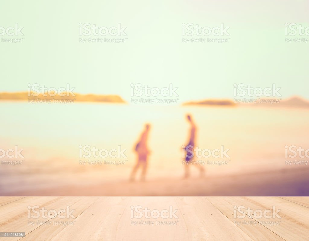 Summer vacation Concept - Perspective wood and Silhouette stock photo