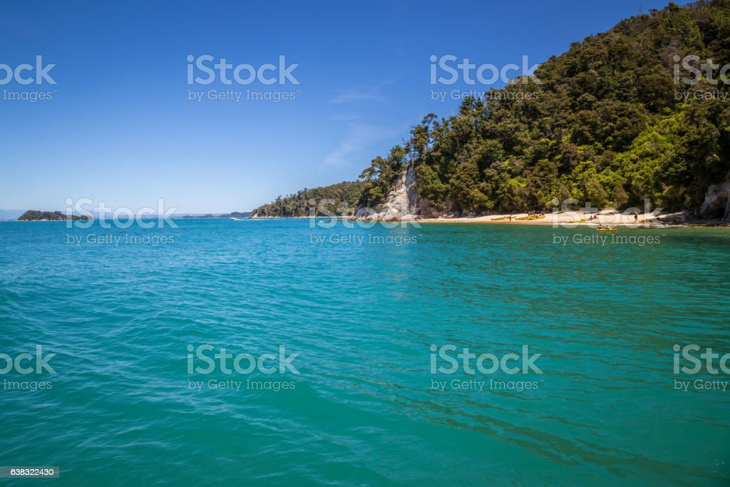 Summer vacation landscape turquoise ocean and white sand, New Zealand stock photo