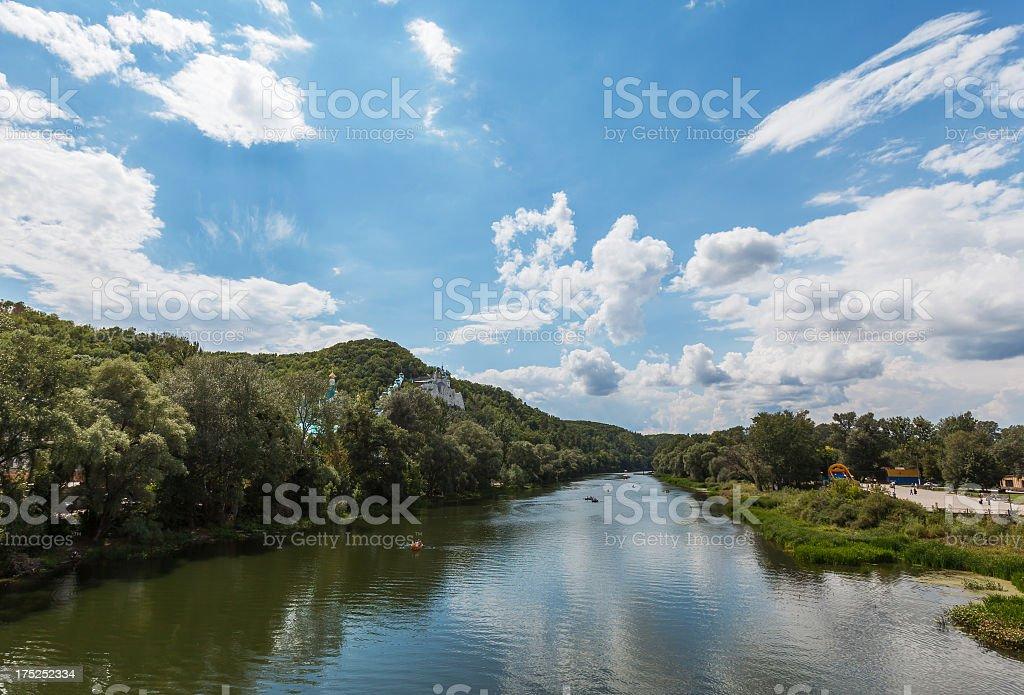 Summer vacation near Svyatogorsk Monastery stock photo