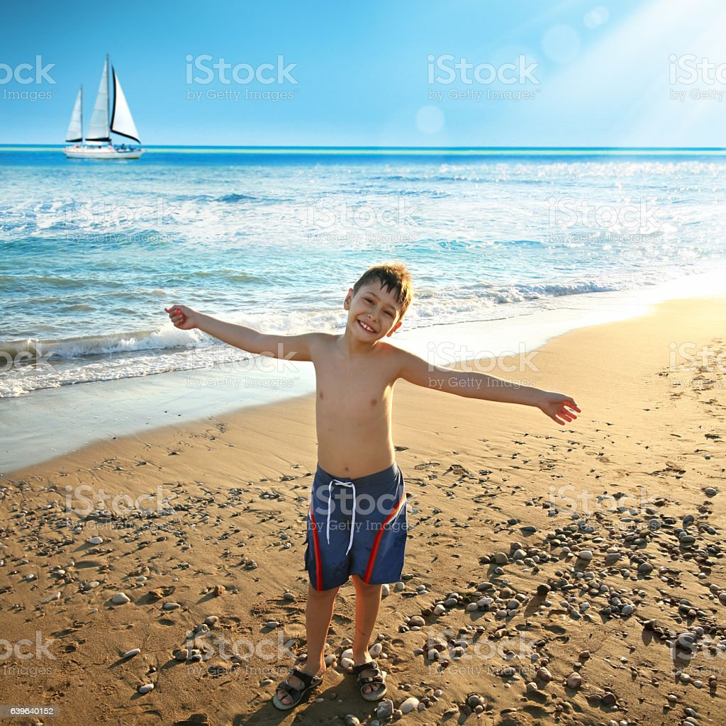 summer vacation on beach stock photo