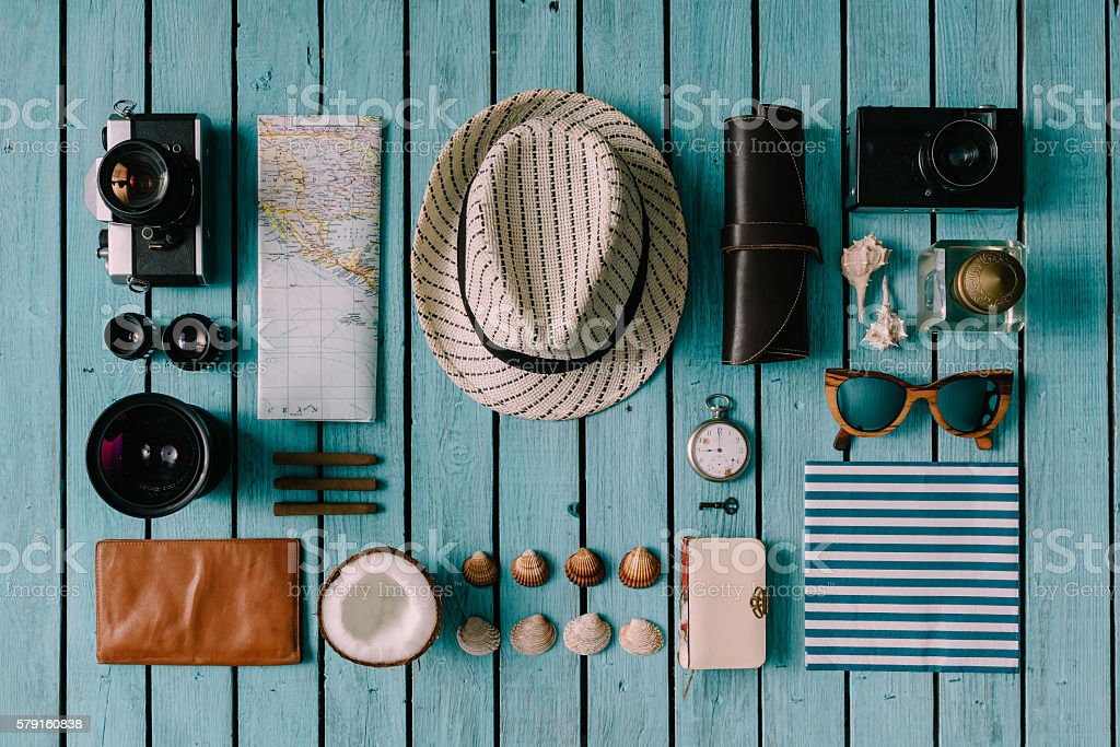 Summer vacation things neatly organised stock photo