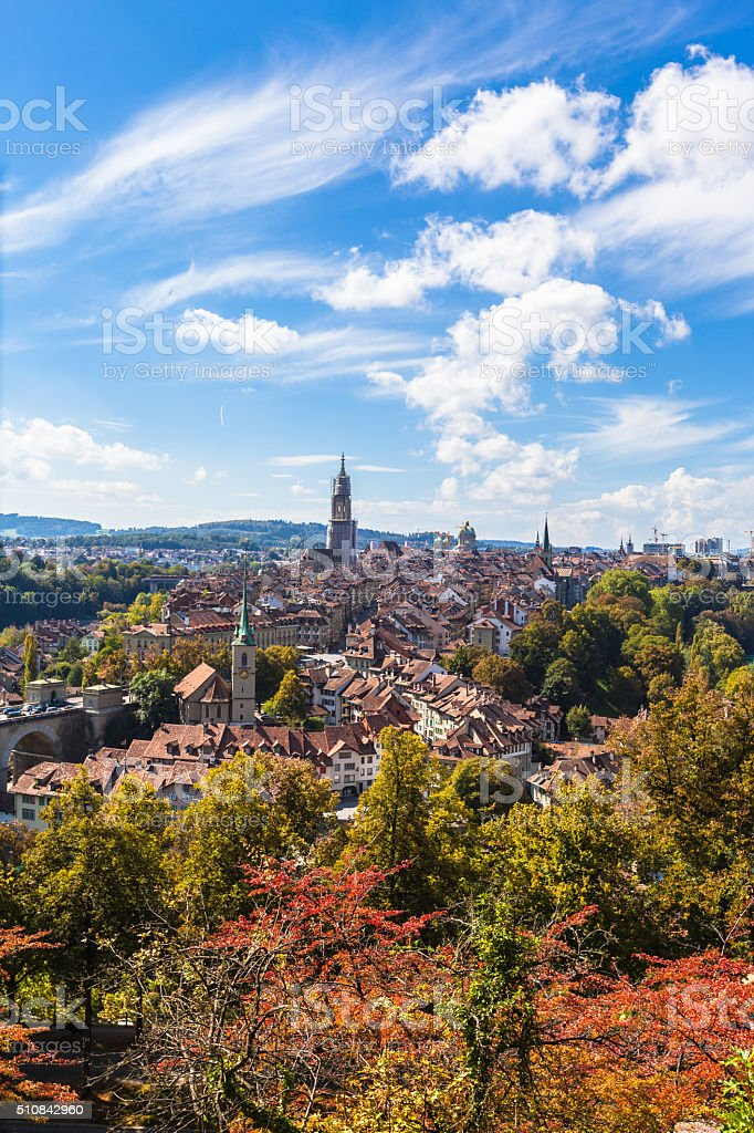 Summer view of Berne old town from mountain top stock photo