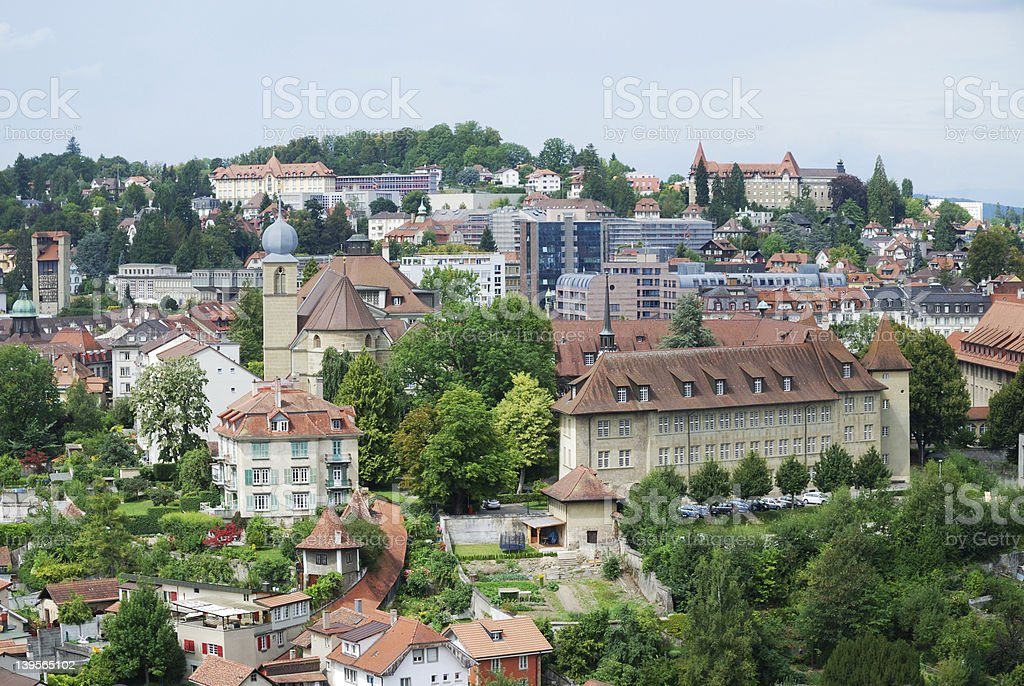Summer view of Fribourg. royalty-free stock photo