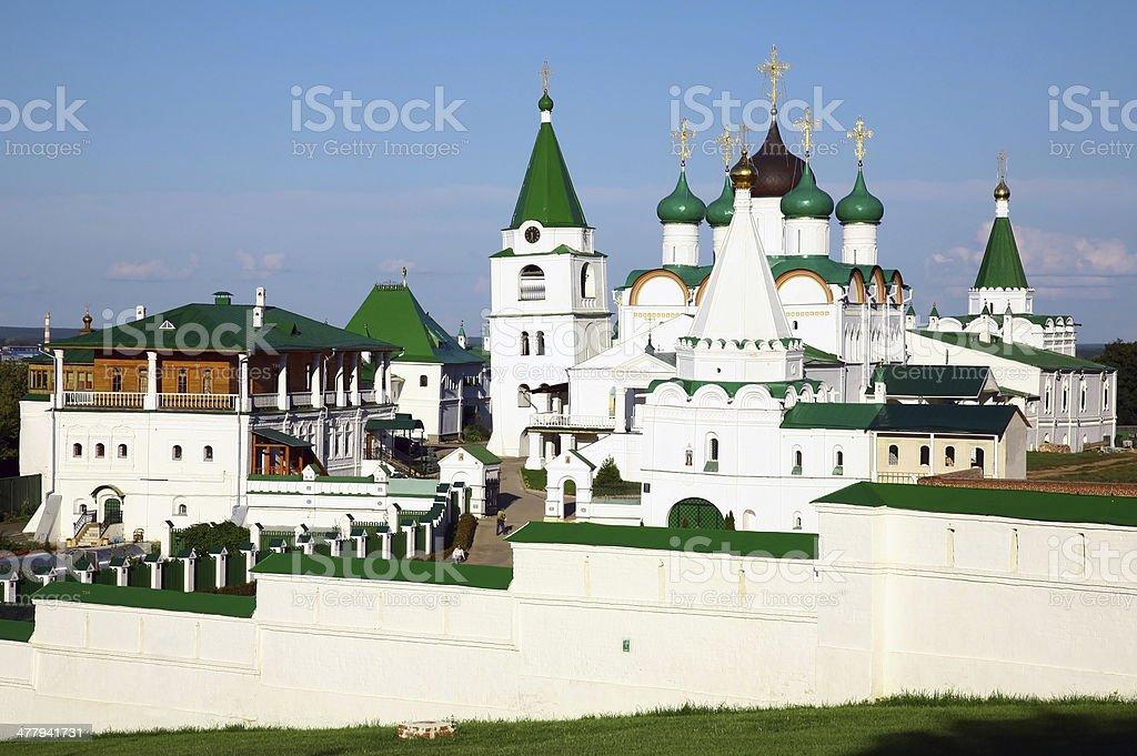 Summer view of Pechersky Ascension Monastery Nizhny Novgorod stock photo