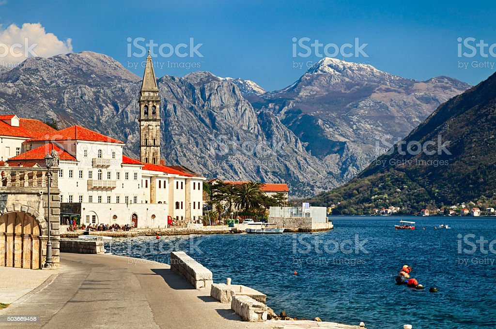 Summer view of Perast, small town in Bay of Kotor in Montenegro stock photo