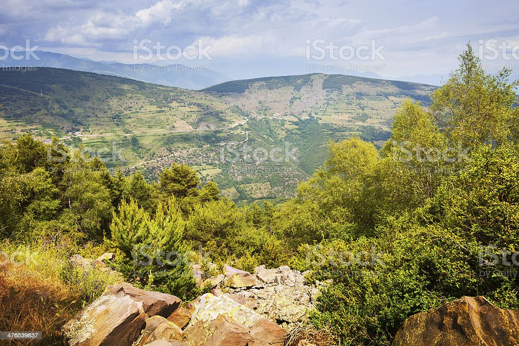 Summer view of Pyrenees mountains. stock photo