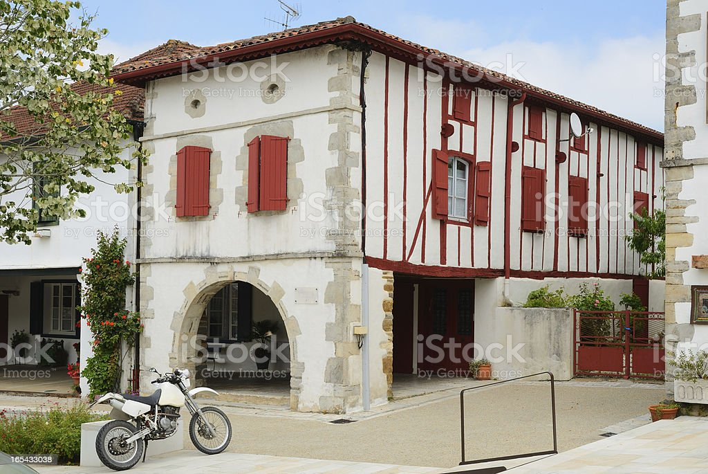 Summer view of the Basque town La Bastida-Clairence stock photo