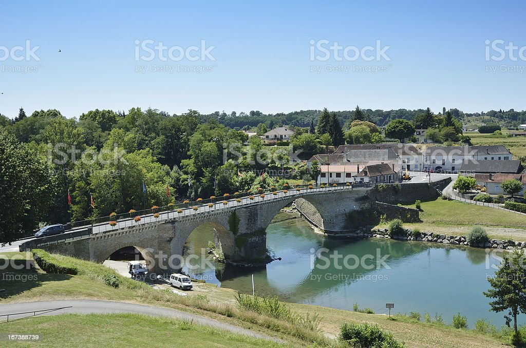 Summer view of the French pilgrim town Navarrenx stock photo